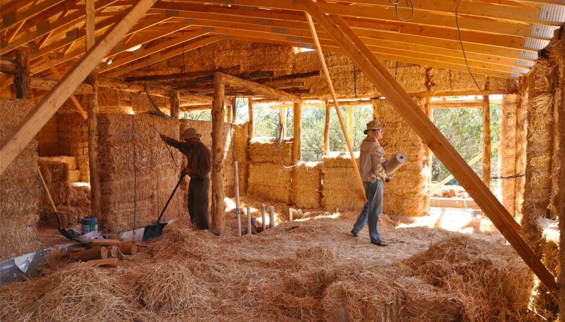Cleaning Up the Straw Bale Room