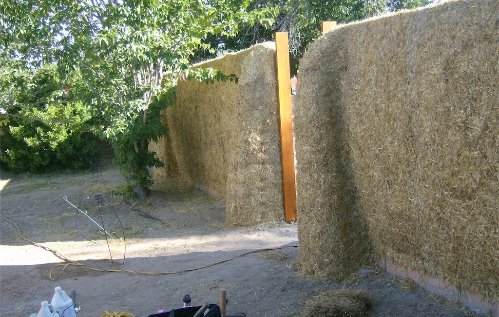 Straw bale wall in process